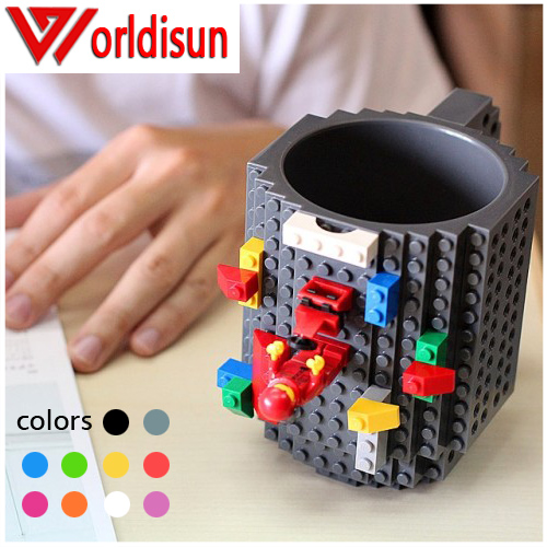 Build-On Brick Mug Lego Type Building Blocks Coffee <strong>Cup</strong> DIY Block Puzzle Mug 12oz 350 ml Coffee Tea Beverage Mug <strong>Cup</strong>