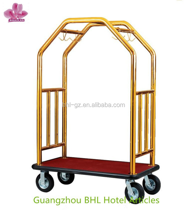 Gold Hotel Luggage Trolley Bellboy Serve Trolley Factory Price By ...