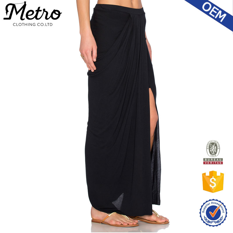 Long maxi skirt black opened front cropped fashion ladies chic design