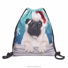 Custom Promotional Sport Pack Recycled 3d Dog Carry Drawstring Bag with logo