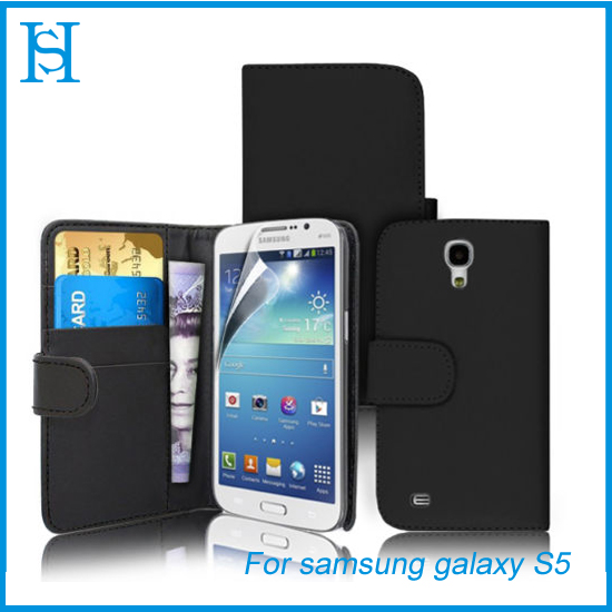 Black wallet leather flip cell phone case for samsung galaxy s5
