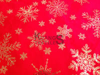 100% polyester red background gold snowflakes design micro polar fleece fabric for Christmas day
