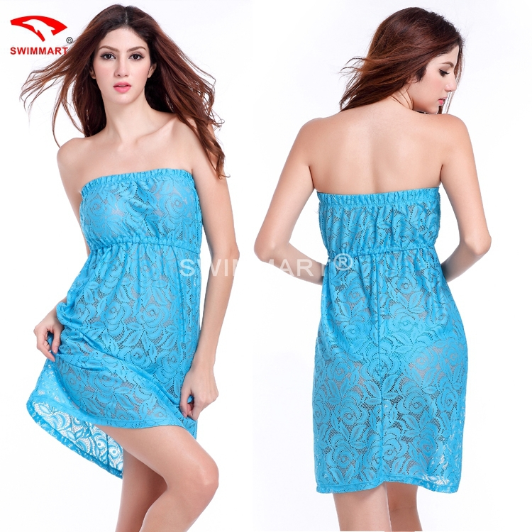 2015 Strapless Big Large Women Plus size XXL Transparent Sexy Casual Lace dress 4 Colors Hot Sales