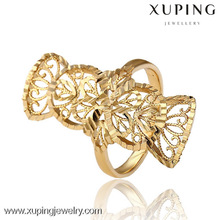 12897-Xuping Trends gold long finger ring hollow for women
