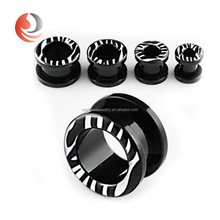 Black Acrylic body piercing jewelry Screw Fit logo ear flesh Tunnel