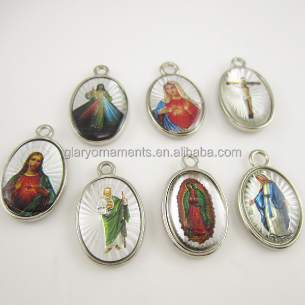 Assorted seven religious images double sided rosary charm pendant