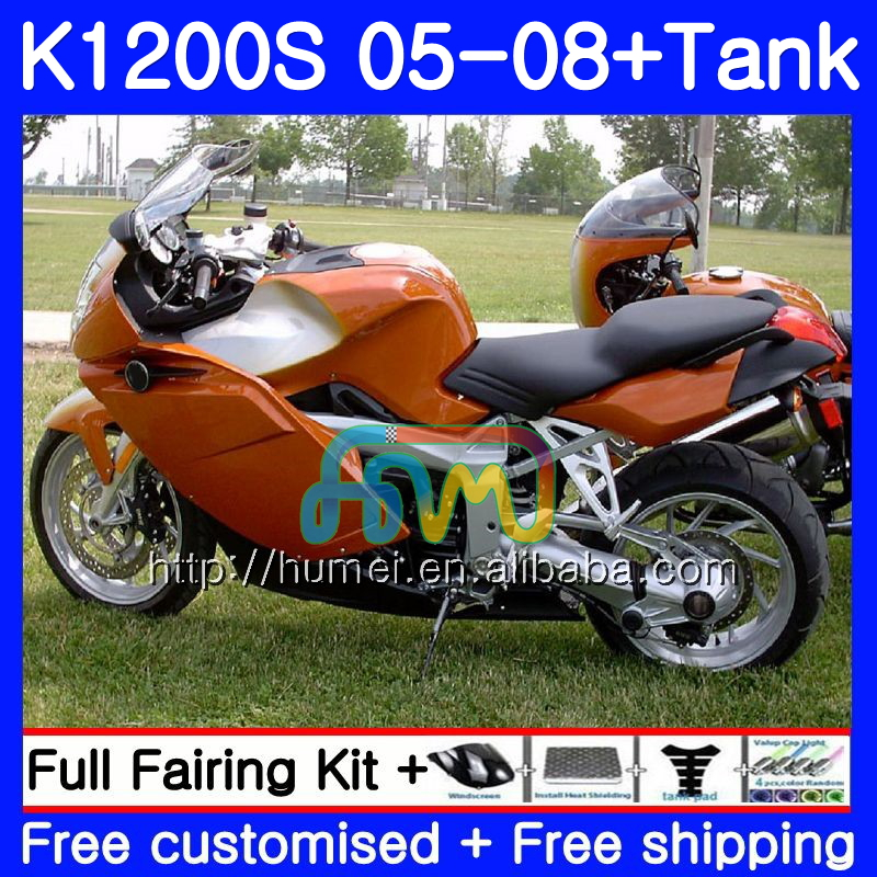 Body For BMW K1200 S 05-10 Orange black K1200S 05 06 07 08 09 10 49HM14 <strong>K</strong>-1200S <strong>K</strong> 1200S 2005 2006 2007 2008 2009 2010 Fairing