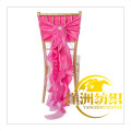 New arrived romantic organza chiffon curly chair sash chair cap chair hood