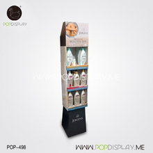 Retail Store Use Cardboard Floor Display Rack Standing For Hair Shampoo