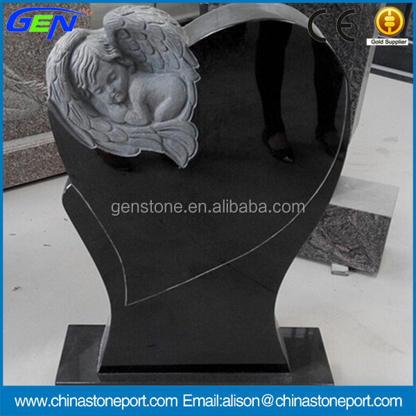New Design Black Granite Little Angel Monument Baby Tombstone