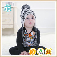 Cool Skull Pattern Baby Knitted Caps Pom On Top For Autumn,Fashion Unisex Knitting Hats With Tie