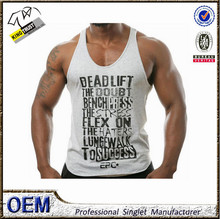 New Design fashion printing fitness tank top,100% cotton mens gym stringer y back tops