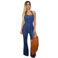 Love & Beauty Street Style Halter elegant Boot Cut jeans Jumpsuit Wide Leg denim overalls women LC60577 combinaison femme 2015