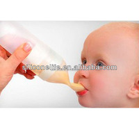 Hot sale FDA squeezable silicone baby feeding bottle with spoon