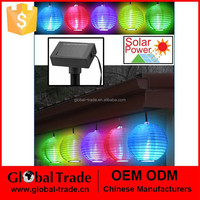 G0029 Solar Powered 10 LED Chinese Lantern Colorful and Foldable String Light for Party Outdoor Patio Lawn Garden