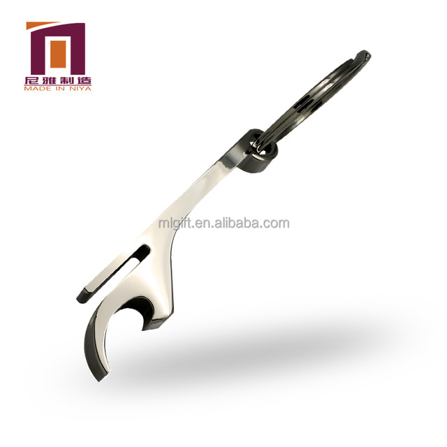 Custom logo metal fish bone shaped bottle opener key chain