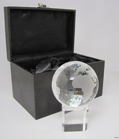 crystal world globe with cube base/ earth glass globe/business gift, home decoration k9 crystal Material crystal world MH-Q0052