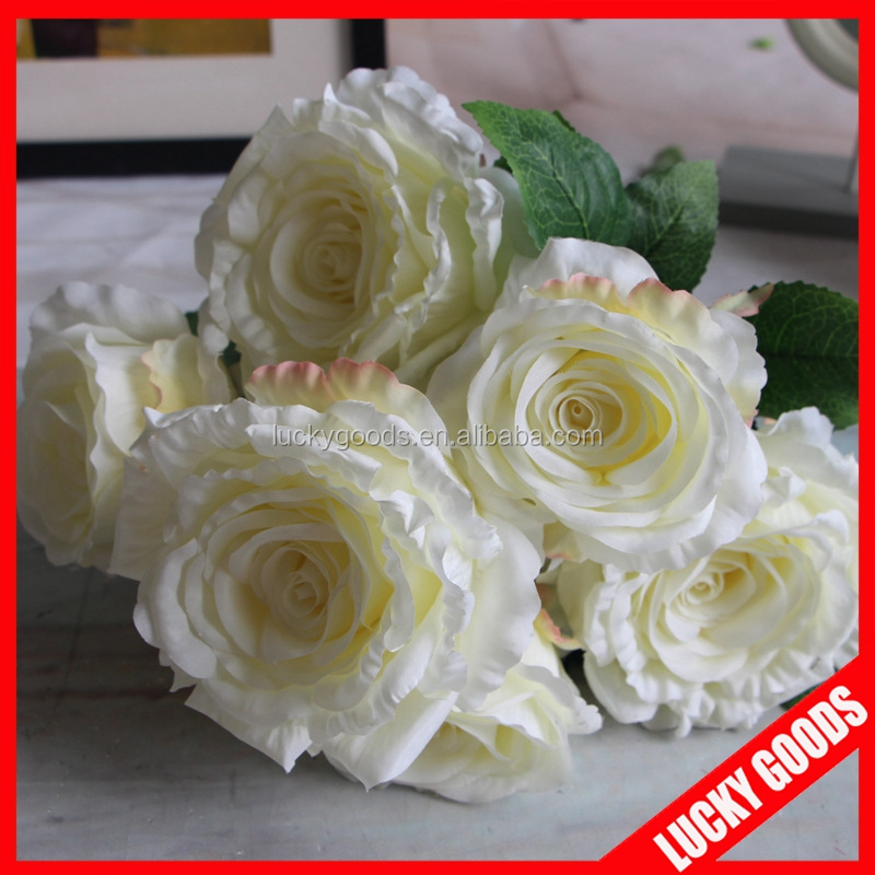 7 heads decorative white fake rose flower for sale