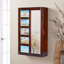 cheap wooden wall mount mirrored jewelry dressing cabinet with photo door