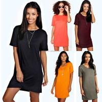 Guangzhou China Women Fashion Clothing Manufacturer Women O Neck Short Back Sleeve TShirt Dress