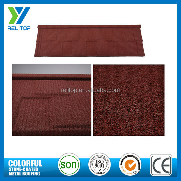 Wind resistance colorful stone coated metal roof tile with acrylic coated