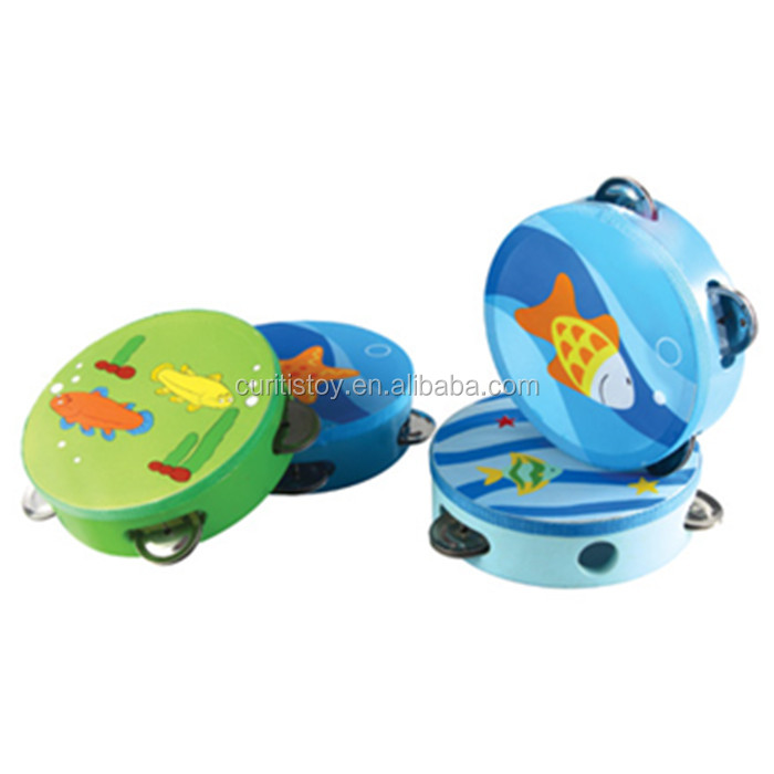 new kids best fun toys color imagination learning game green toy wooden children's musical Instruments wholesale tambourine