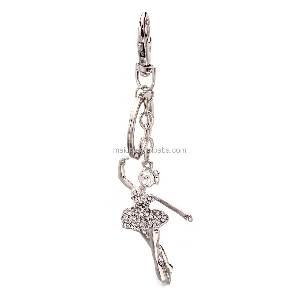 Nice silver ballet dance key ring high quality keychain making supplies