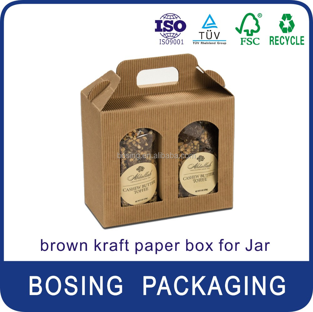 OEM High Quality kraft Paper 2/3/4/6 Bottle Jar Boxes with Handle/kraft paper box for health product/bird's nest