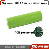 Protected 18650 li ion battery 3.7V 2600mAh rechargeable battery