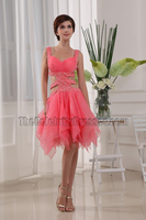 Water Melon Cut Out Backless Cocktail Party Dresses With Beading
