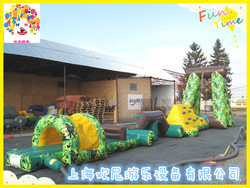 Giant inflatable aqua obstacle at Swimming Pool, Inflatable water obstacle course