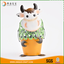 China high standard production dairy cow iron planters flower pot