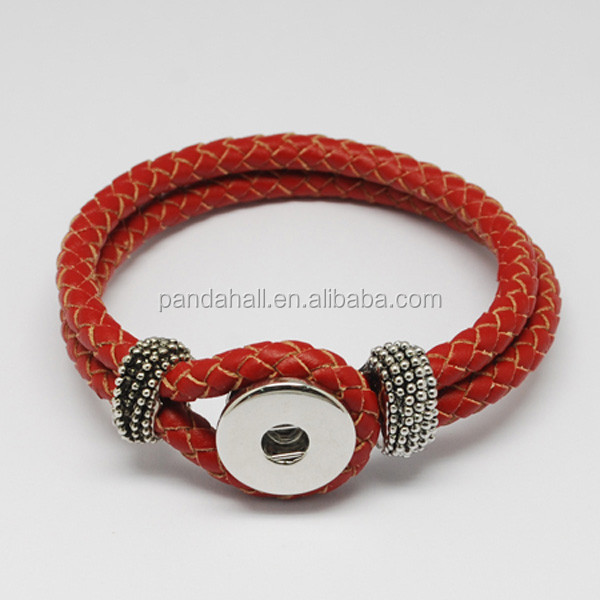 Braided Leather Cord Snap Press Button Bracelet Fit 4x6mm Shank Snaps(AJEW-<strong>R022</strong>-03)