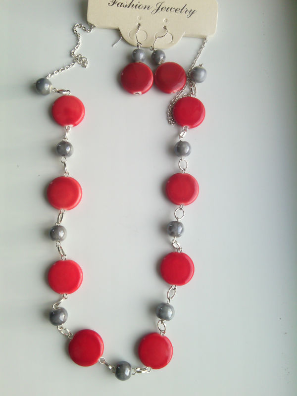 Set with porcelain beads - handmade (earrings and necklace)