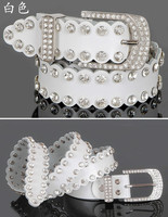 wholesale lady genuine leather belt, women leather rhinestone belt real leather crystal belt women