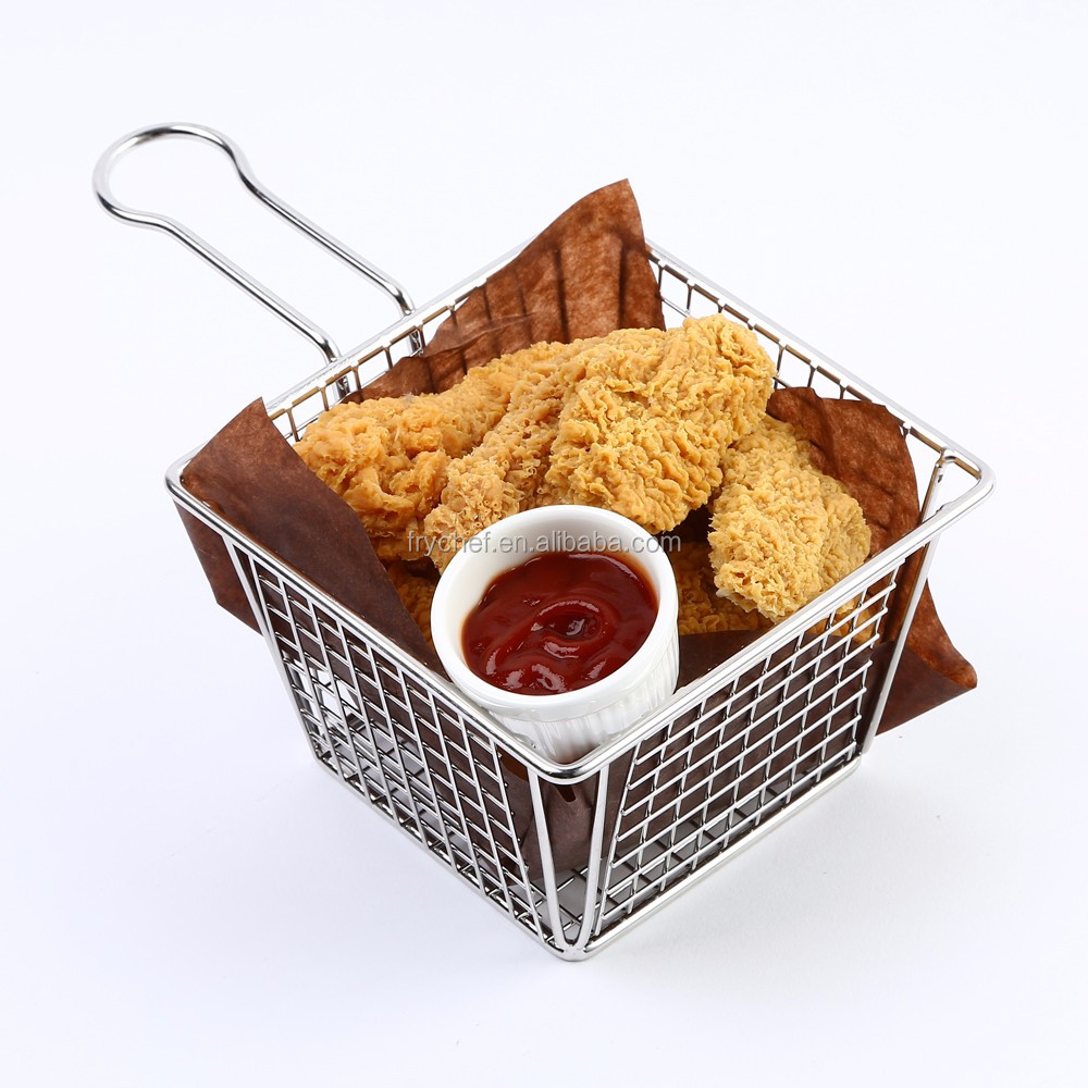 Stainless Steel Metal Type and LFGB FDA CIQ CE / EU SGS EEC Certification French Fry Baskets