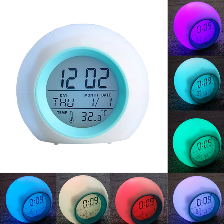 7 LED Colour Changing Digital Alarm Clock Thermometer Date Time Night Light Creative Home Furnishing Alarm Luminous Alarm Clock