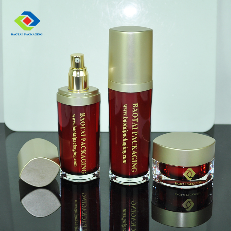 Red and gold colored unique empty skin care lotion bottle packaging