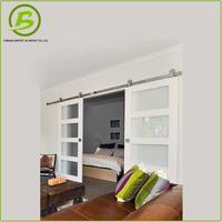 Sliding Tempered Glass Barn Door With Stainless Steel Hardware