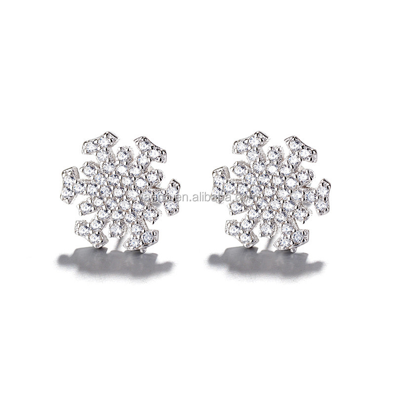Wholesale New Fashion Zircon Jewelry 925 Sterling Silver Snow Flake Earrings