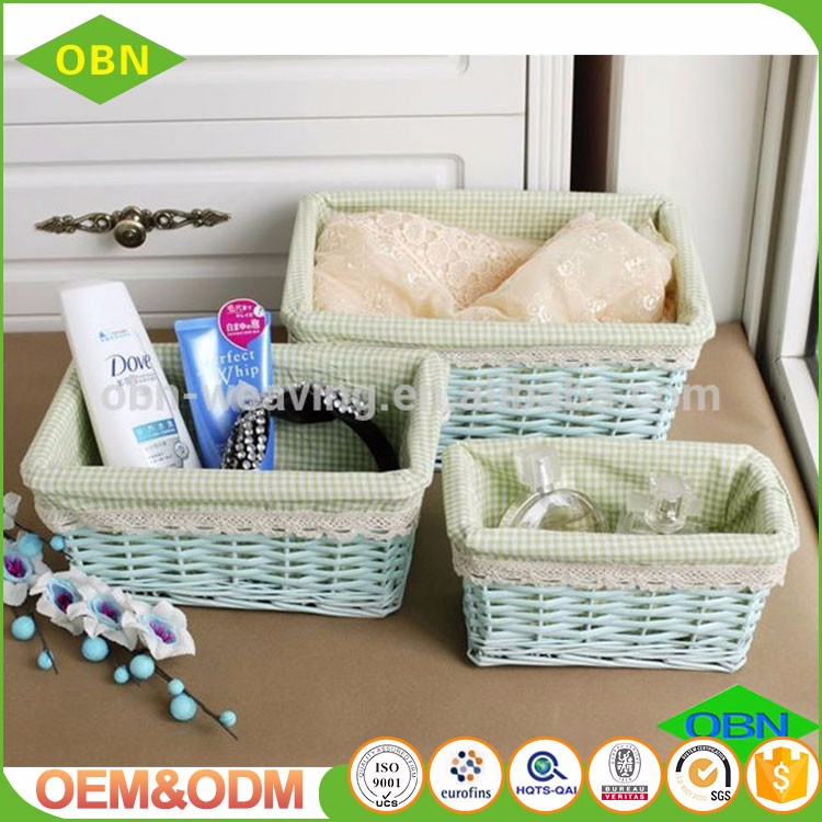 Custom any size or color durable rectangular cheap handwoven wicker storage baskets for home storage