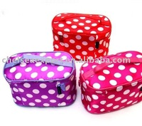 satin travel cosmetic kit bag with dots
