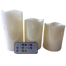 3 Pieces Customized Wholesale Pillar Eco Friendly Electric Flameless Colorful Wax Led Candle
