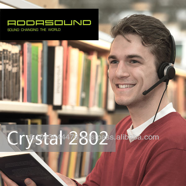 Crystal 2852 Wired Dual-Mics Noise-cancelling Headset for Call Centers and Offices