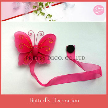 RED Silk Butterfly magnetic curtain tiebacks, View magnet curtain ...
