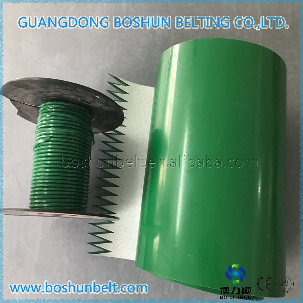 factory price of pvc conveyor belt with cleats and guides in food industry