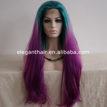 factory price lace front wig green and purple ombre synthetic long straight wig cosplay
