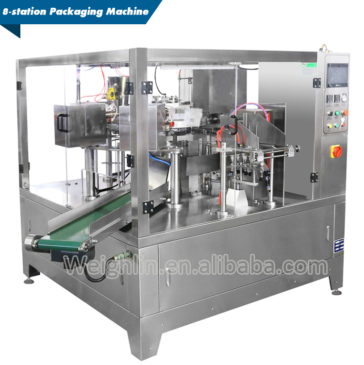 Full packing line combined 24head weight filler and 8station premade pouch doypack packaging machine for rice beans grains
