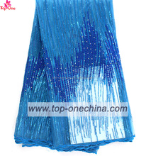 2016 high quality lace dress fabric african / turquoise blue african lace fabrics tulle