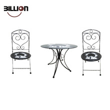 Black Colour Metal Bistro Set Outdoor Garden Furniture Patio Table Chairs
